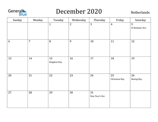 Image of December 2020 Netherlands Calendar with Holidays Calendar