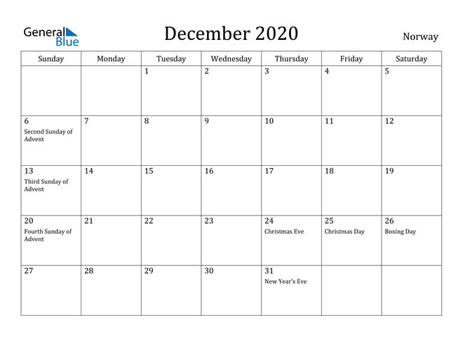 Image of December 2020 Norway Calendar with Holidays Calendar
