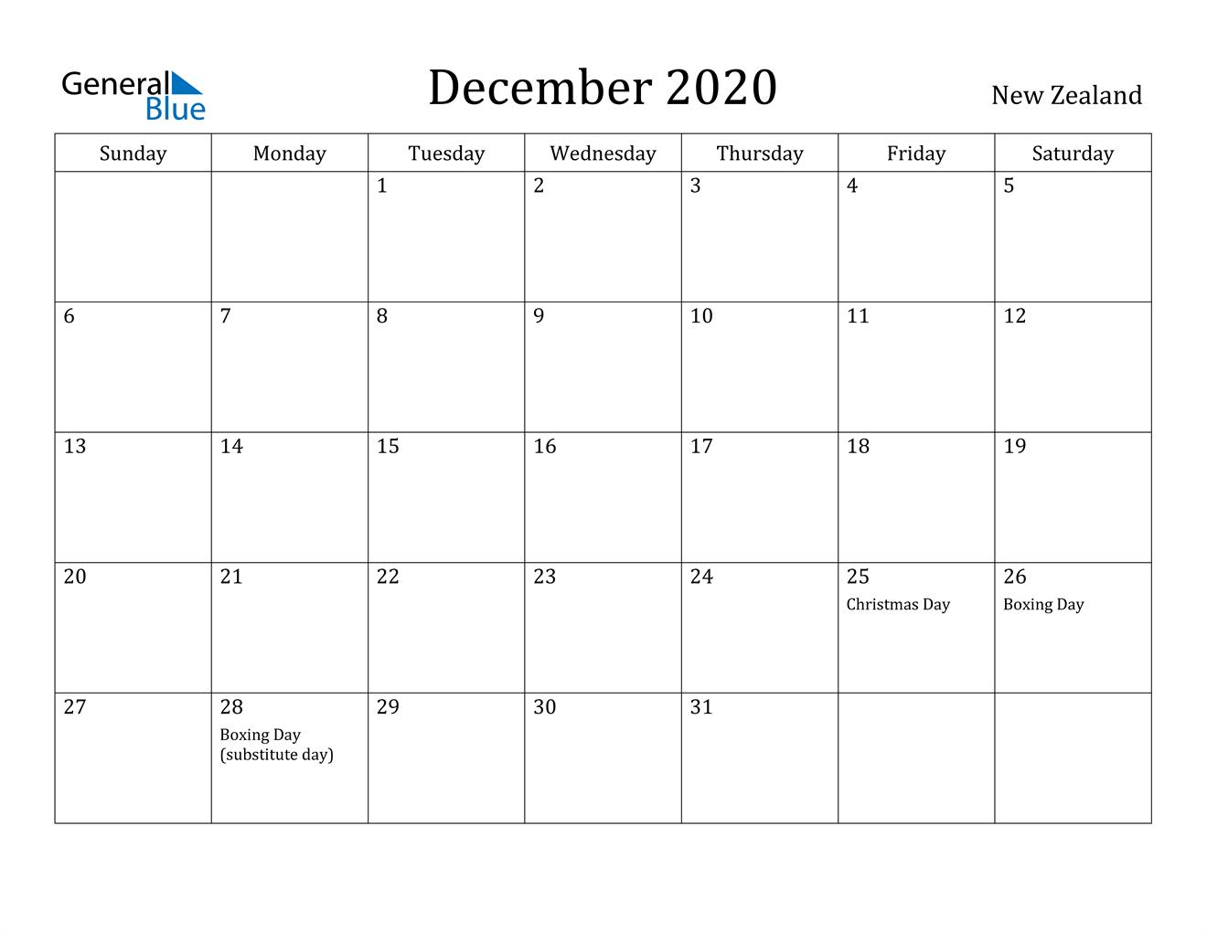 December 2020 Calendar New Zealand