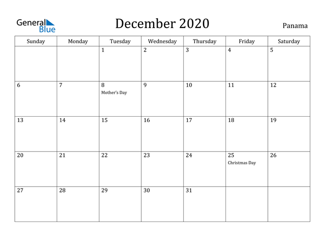 Image of December 2020 Panama Calendar with Holidays Calendar