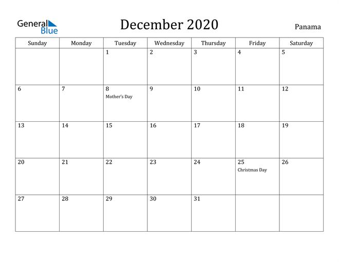 December 2020 Calendar Panama