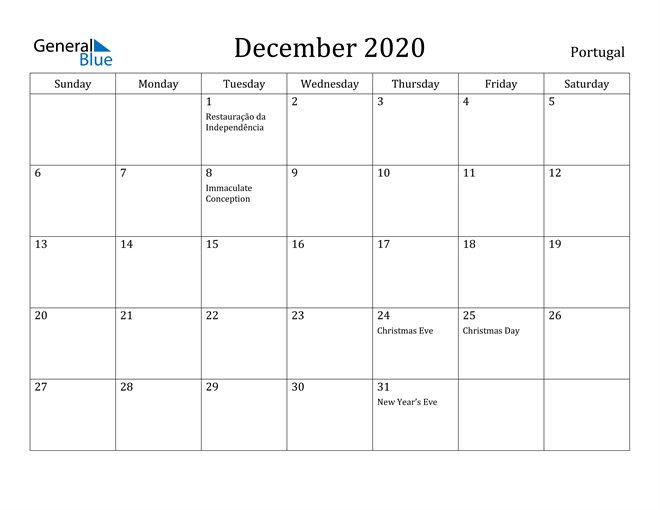 Image of December 2020 Portugal Calendar with Holidays Calendar