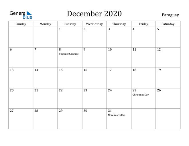 Image of December 2020 Paraguay Calendar with Holidays Calendar