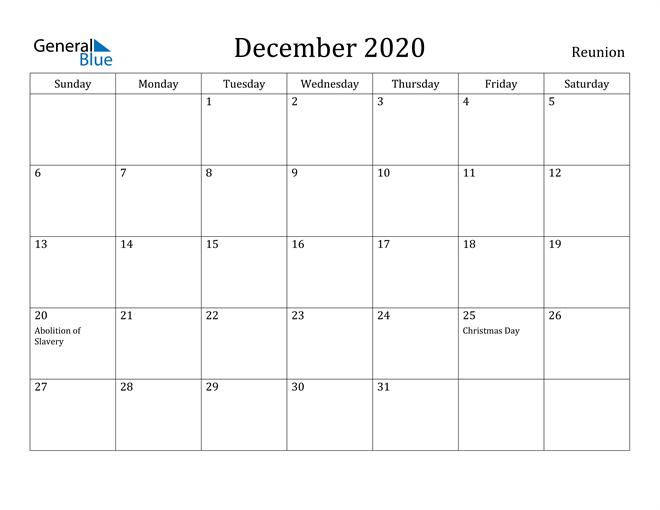Image of December 2020 Reunion Calendar with Holidays Calendar