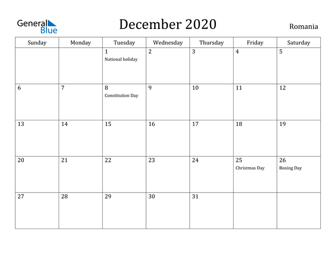 December 2020 Romania Calendar with Holidays Calendar