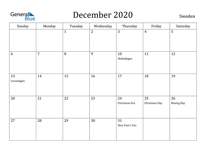 Image of December 2020 Sweden Calendar with Holidays Calendar