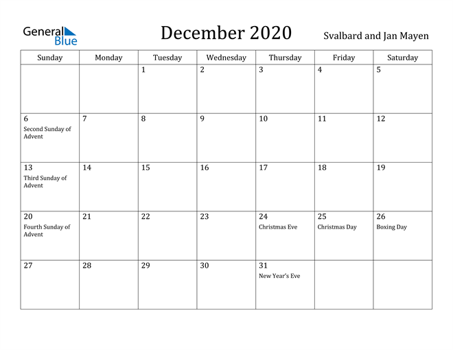 Image of December 2020 Svalbard and Jan Mayen Calendar with Holidays Calendar