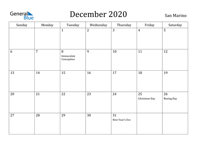 Image of December 2020 San Marino Calendar with Holidays Calendar