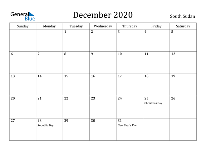 Image of December 2020 South Sudan Calendar with Holidays Calendar