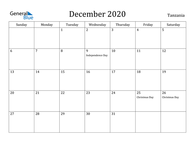 Image of December 2020 Tanzania Calendar with Holidays Calendar