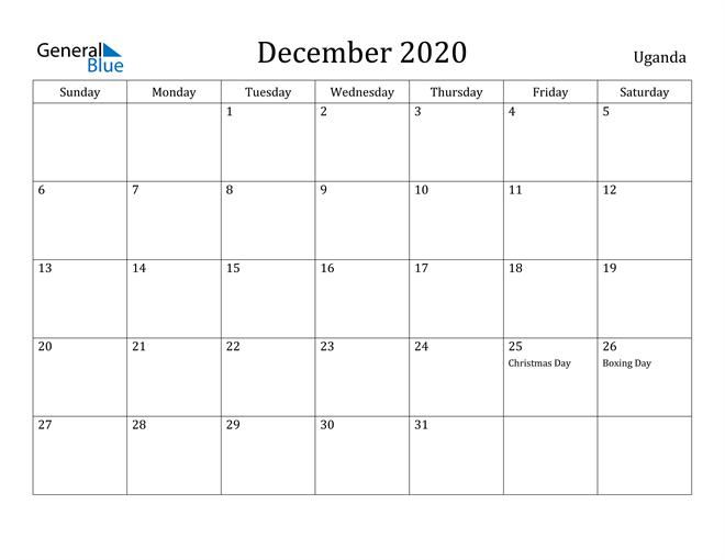 Image of December 2020 Uganda Calendar with Holidays Calendar