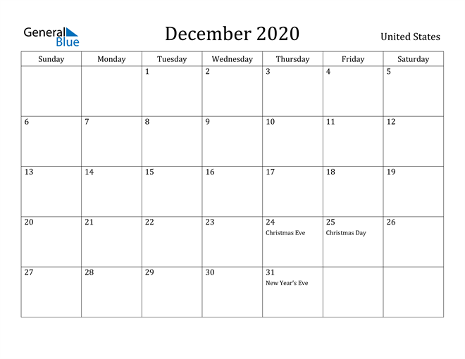 Image of December 2020 United States Calendar with Holidays Calendar