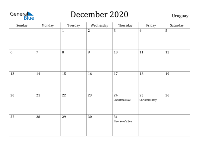 Image of December 2020 Uruguay Calendar with Holidays Calendar