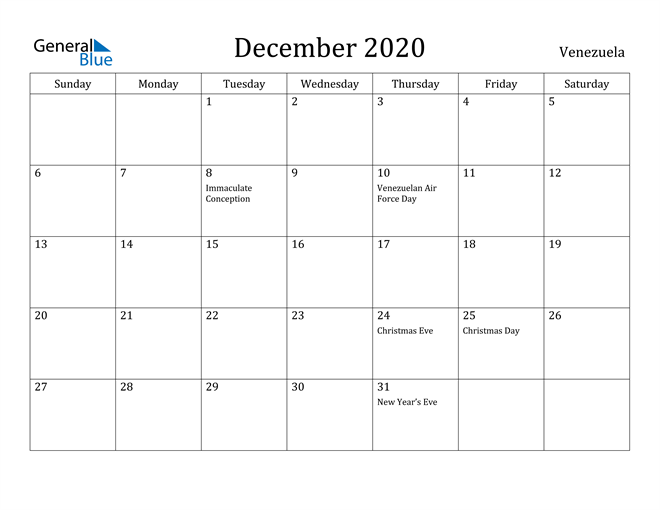Image of December 2020 Venezuela Calendar with Holidays Calendar