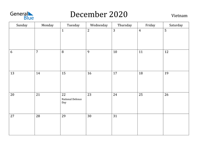 Image of December 2020 Vietnam Calendar with Holidays Calendar