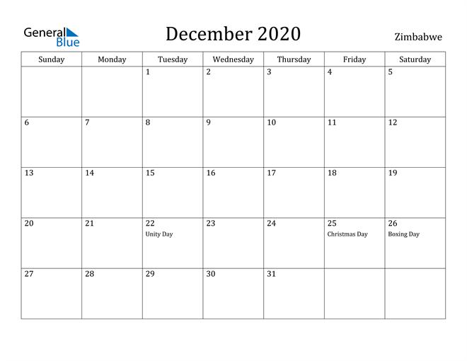 Image of December 2020 Zimbabwe Calendar with Holidays Calendar
