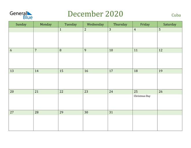 Image of December 2020 Cool and Relaxing Green Calendar Calendar