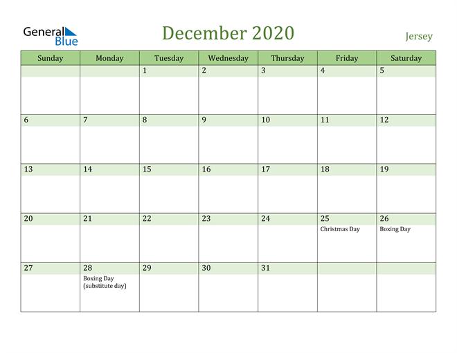 December 2020 Calendar with Jersey Holidays