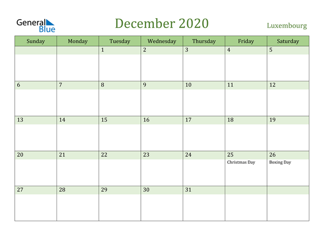 Image of December 2020 Cool and Relaxing Green Calendar Calendar