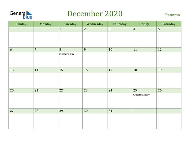 December 2020 Calendar with Panama Holidays