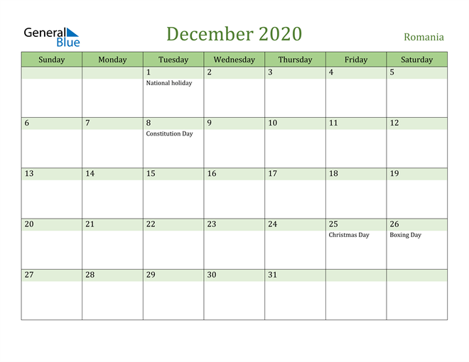 December 2020 Cool and Relaxing Green Calendar Calendar