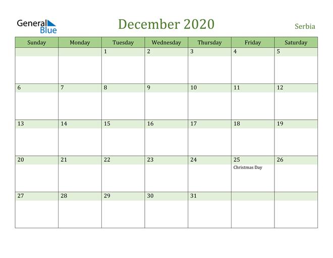 December 2020 Cool and Relaxing Green Calendar Calendar
