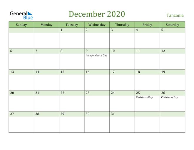 December 2020 Calendar with Tanzania Holidays