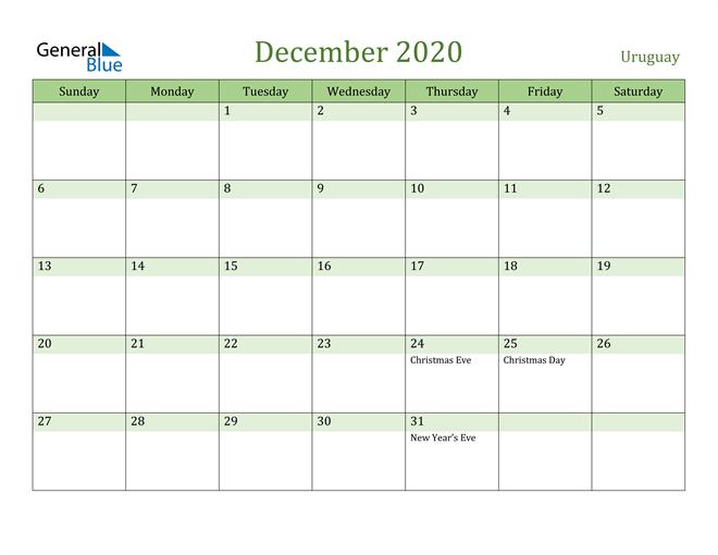 December 2020 Calendar with Uruguay Holidays