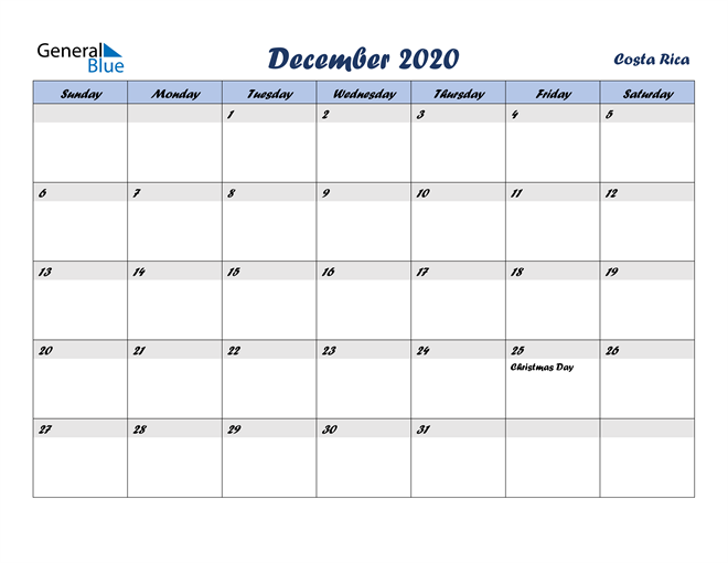 Image of December 2020 Italicized and Cool Blue, A Fun Calendar in PDF, Word and Excel Calendar