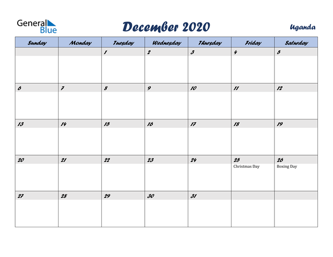 December 2020 Italicized and Cool Blue, A Fun Calendar in PDF, Word and Excel Calendar