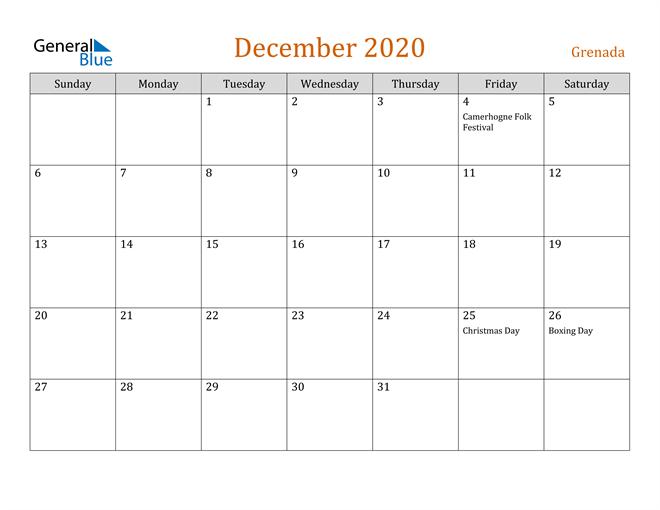 Image of December 2020 Contemporary Orange PDF, Word and Excel Calendar Calendar