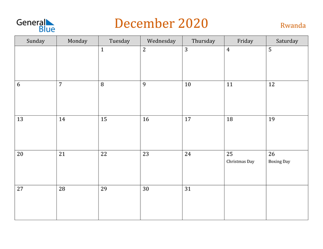 December 2020 Contemporary Orange PDF, Word and Excel Calendar Calendar