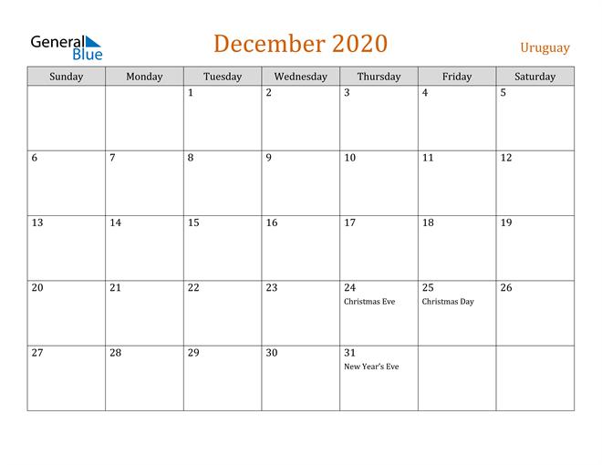 December 2020 Holiday Calendar