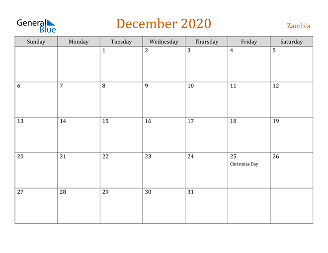 Image of December 2020 Contemporary Orange PDF, Word and Excel Calendar Calendar