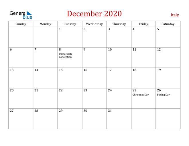 Italy December 2020 Calendar