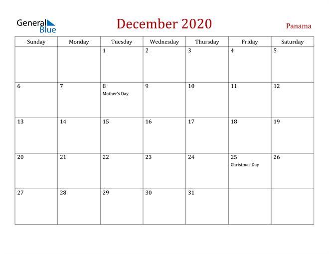Panama December 2020 Calendar