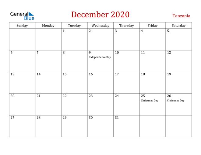 Tanzania December 2020 Calendar