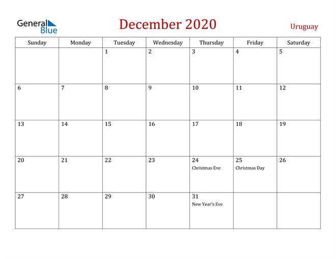 Uruguay December 2020 Calendar