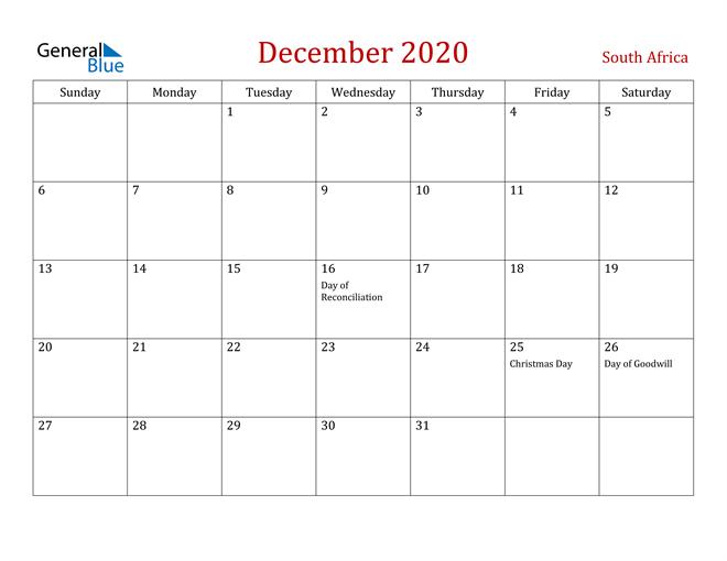 South Africa December 2020 Calendar