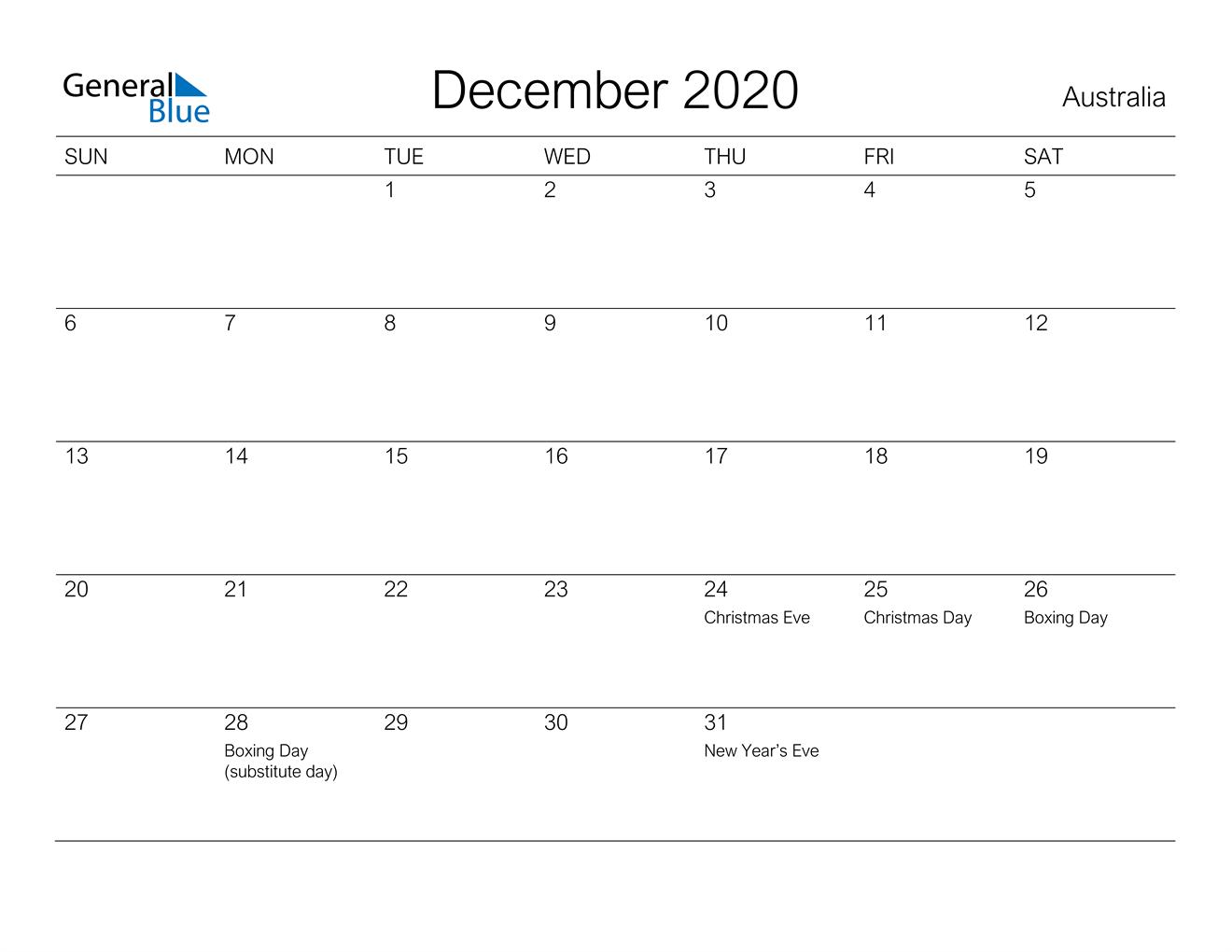 December 2020 Calendar Australia