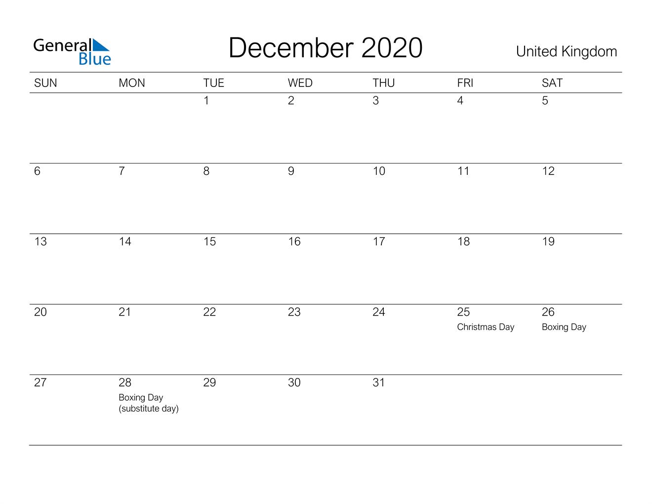 December 2020 Calendar - United Kingdom