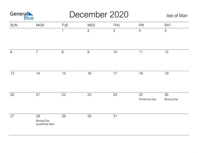 Image of December 2020 A Streamlined Design, The Perfect Printable Calendar. Calendar