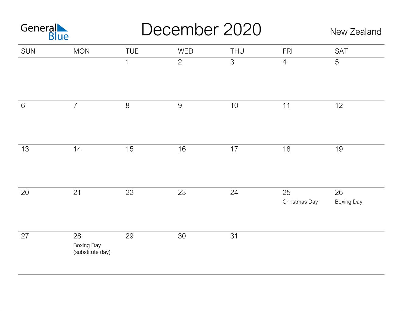 December 2020 Calendar - New Zealand
