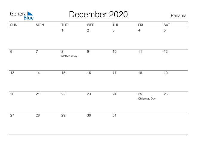 Printable December 2020 Calendar for Panama