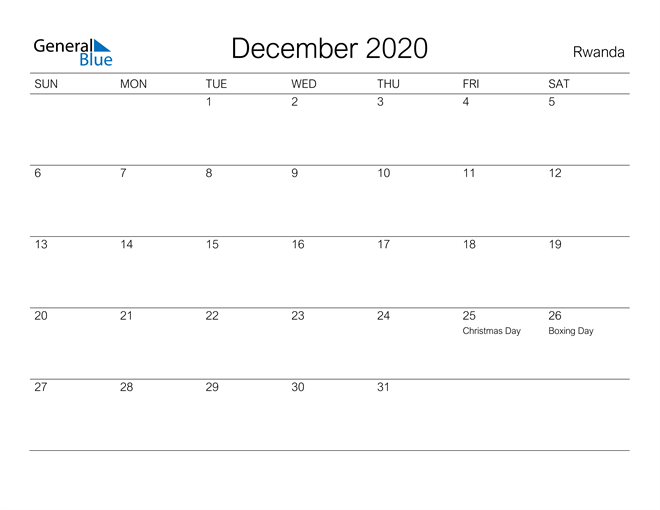 December 2020 A Streamlined Design, The Perfect Printable Calendar. Calendar
