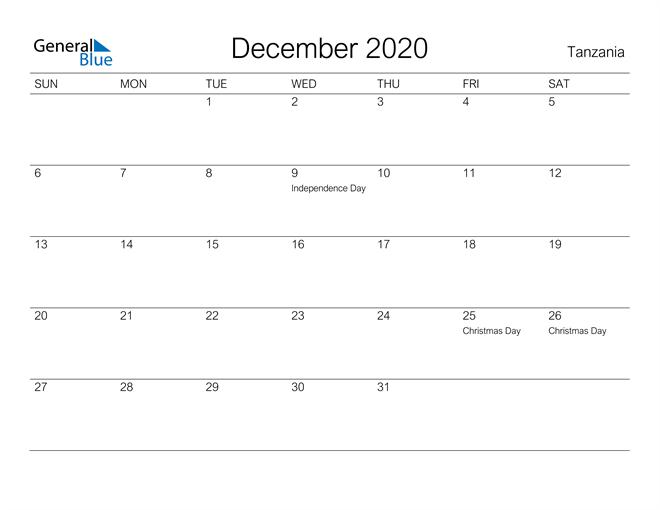 Printable December 2020 Calendar for Tanzania