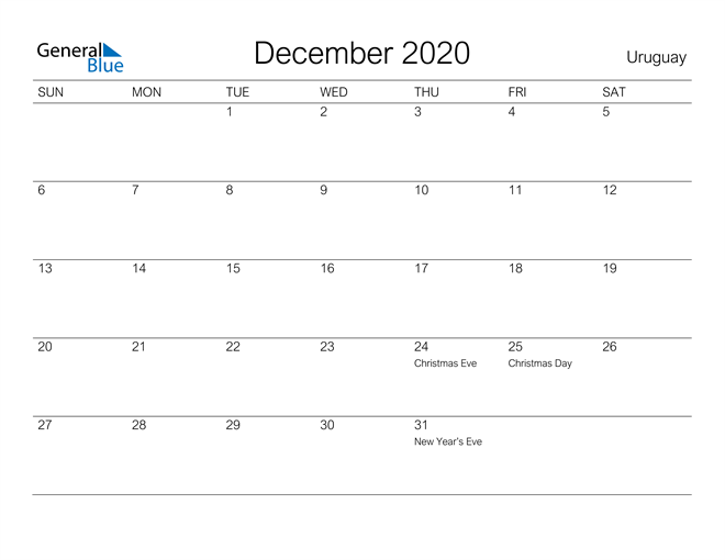 Printable December 2020 Calendar for Uruguay