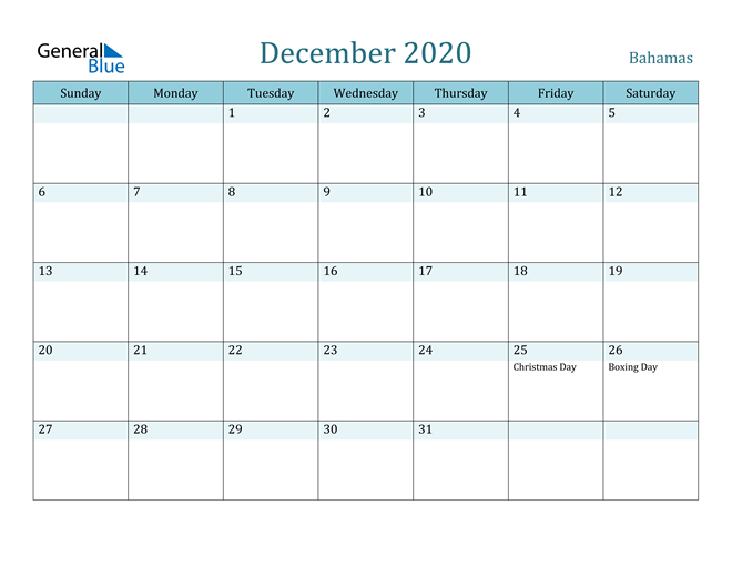 Image of December 2020 Colorful Turquoise Calendar in PDF, Word and Excel Calendar
