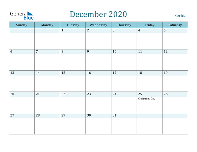 December 2020 Colorful Turquoise Calendar in PDF, Word and Excel Calendar