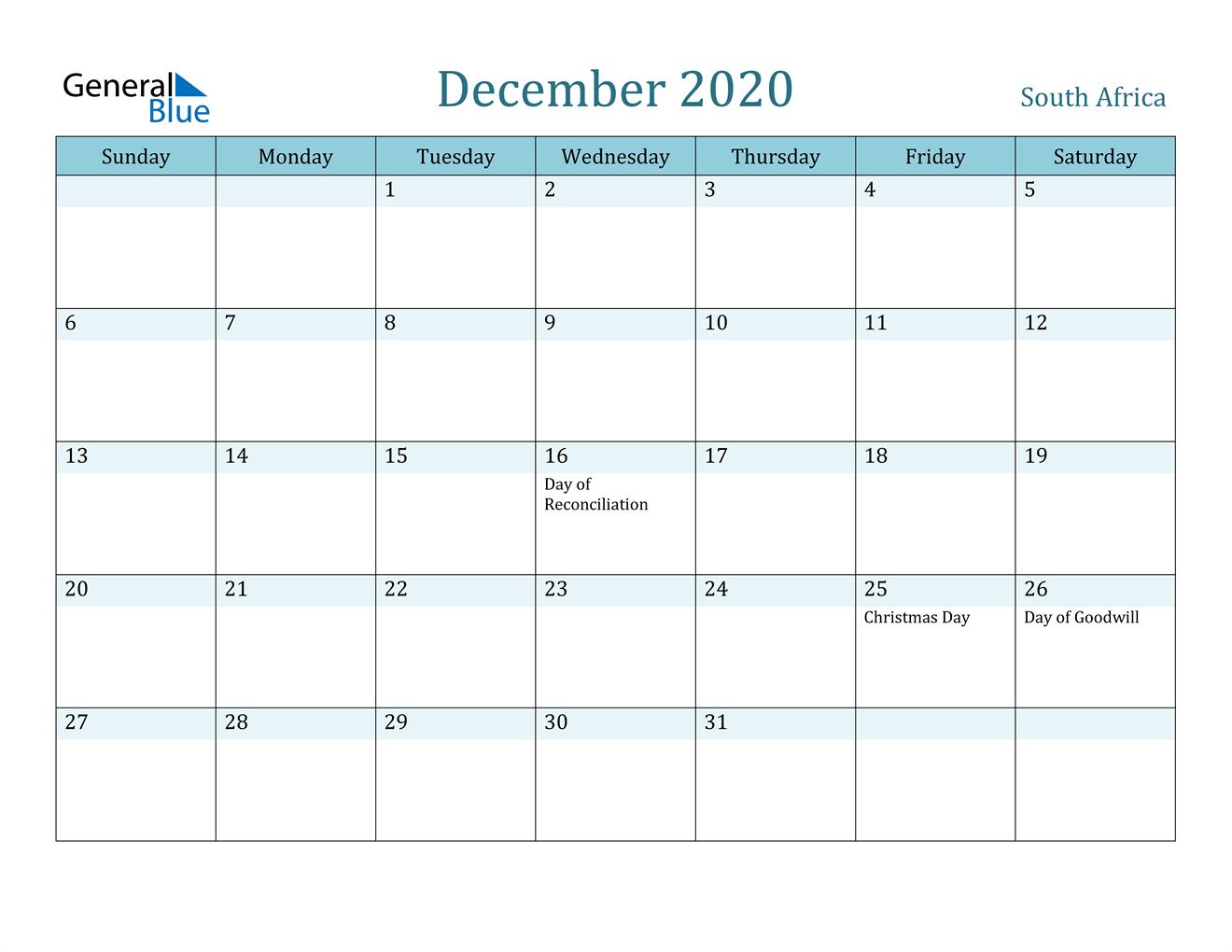 December 2020 Calendar - South Africa